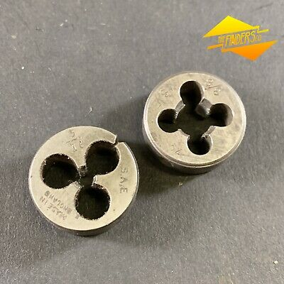 "Lot X2 Vintage 3/8"" X 24 + 3/16"" Sae 1"" Button Die Thread Cutting Metal Saeb1"