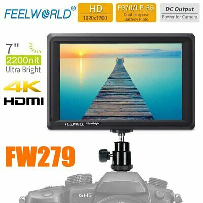 "Feelworld FW279 7"" 4K HDMI Full HD 2200nit Video Field Monitor For DSLR Camera"