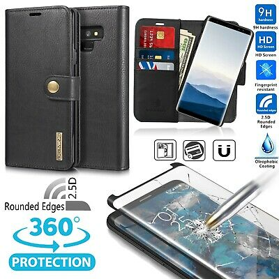 100% GENUINE LEATHER Wallet Case Cover for Samsung Galaxy S9, S9+, 2.5D Film