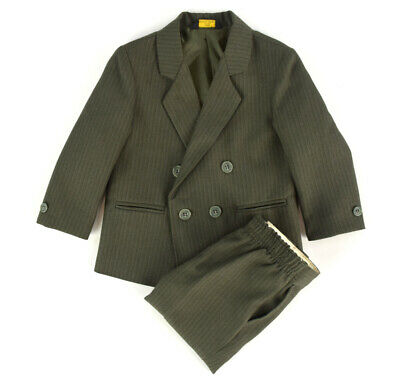 AMHERST Olive Herringbone Pinstripe Dbl. Breasted Suit ~ Toddler Boy's Size 2T