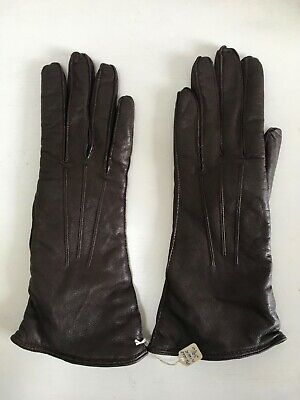 Vintage LADIES unworn brown leather lined gloves original price label Size 6.5