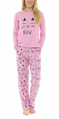 i-Smalls Ladies Cute Meow All Over Cats Pyjama Set with Heart Eye Mask 8 to 22
