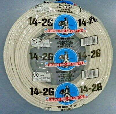 14-2 Romex NM-B Wire 250ft 14/2 Indoor Electrical Copper Wire Cable W/Ground USA