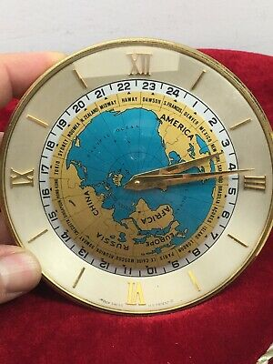 Vintage antique IMHOF IM HOF world time 8 days table clock 1960's and working (B