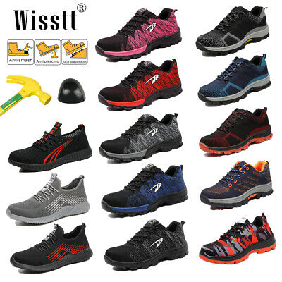 Women's ESD Safety Shoes Steel Toe Steel Sole Breathable Work Outdoor Boots Size