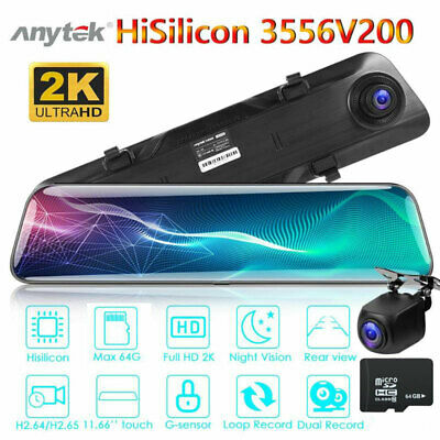"12"" 2K HD 1080P Dual Lens Car Mirror DVR Dash Cam Rear Camera Night Vision +32GB"