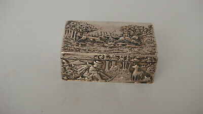 Estate Antique Hanau 800 Silver Hunting Scene Snuff Box Trinket Box