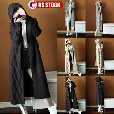 Women Long Sleeve Knitted Cardigan Sweater Hooded Casual Outwear Coat Jacket US
