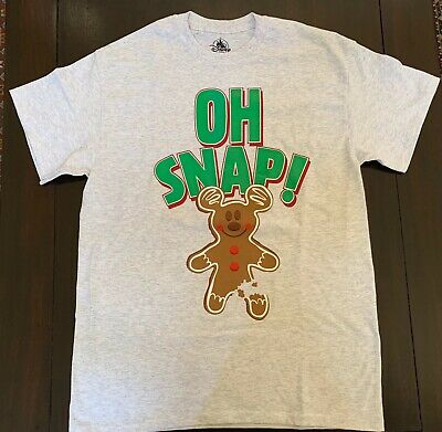 Disney Parks 2019 Christmas Oh Snap Mickey Gingerbread Man Adult T-Shirt X-L Nwt