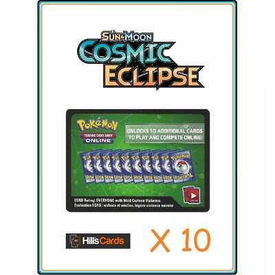 Cosmic Eclipse Codes x 10 Pokemon Online Booster Pack Code Card TCGO Sun & Moon