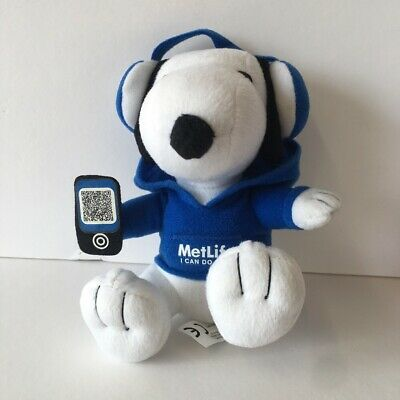 "New MetLife Promo Blue Camo Snoopy Stuffed Promotional Toy 6"" Sitting 2015 Plush"