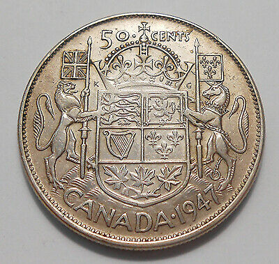 1947 CURVED 7 Fifty Cents F-VF ** BETTER Date King George VI SILVER Canada Half