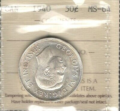 1940 Fifty Cents ICCS MS-64 * STUNNING aGEM Early King George VI WWII Canada 50¢