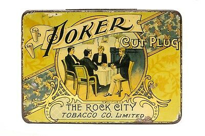 "Scarce early1900s Canadian litho ""Poker"" hinged tobacco tin in good condition."