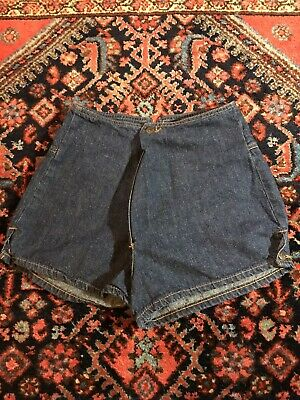 Vintage 70s Landlubber High Waisted Dark Denim Shorts Button Front