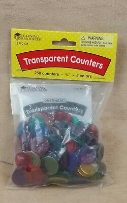 6 Colours Learning Resources Transparent Counters
