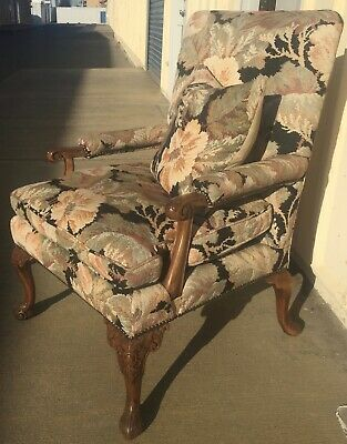 Carved Armchair Circa 1930 Tapestry Upholstery