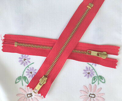 "2 x YKK 15cm 6"" Red Zip Closed Ended Zips Zippers Jeans strong heavy duty metal"