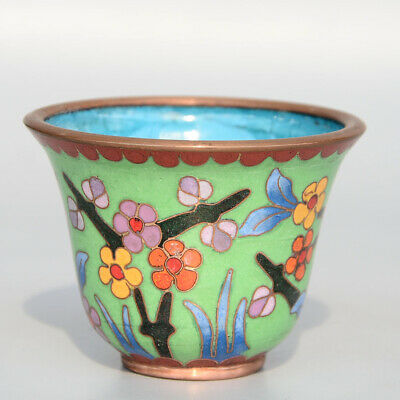 Collectable Handwork China Old Cloisonne Carve Bloomy Flower Delicate Tea Cup