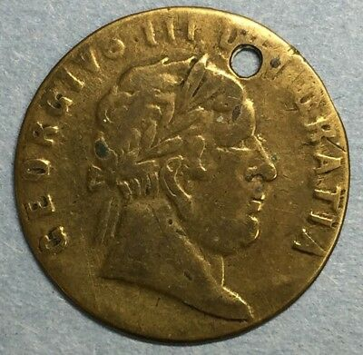 """1768 King George III  Token """"In Memory of the Good Old Days"""" Holed #ZS126"""