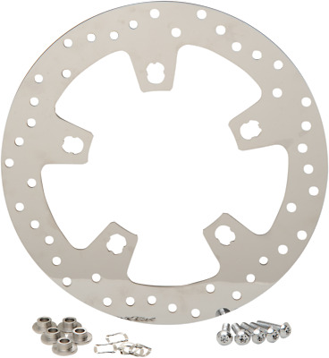 Drag Specialties Polished Stainless Steel Drilled Brake Rotor 1710-2403