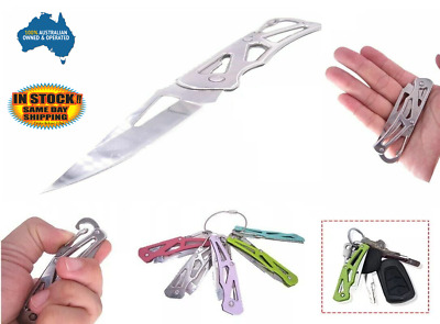 Small keyring Key Knife Folding Opening Pocket Hunting Camping Survival Fishing