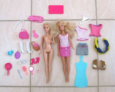 Barbie Doll Bundle - 2 Dolls - 29 Accessories - Clothes Shoes Bags Hair Kitchen