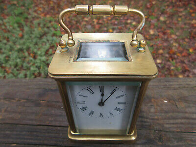 "Antique Brass Carriage Clock with Key **Works Beautifully** 4 1/4"" high"