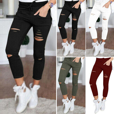 Girls Pants Summer Fitted Trousers Pants Fashion High waist Leggings Ripped