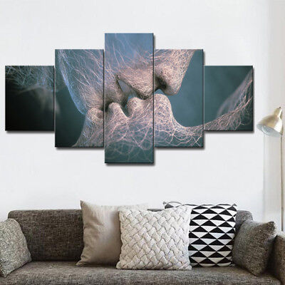 5 Piece Love&Kiss Abstract Art Canvas Painting Oil Picture Print Home Wall Decor