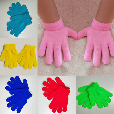 Kids Child Baby Knitting Solid Magic Gloves Student