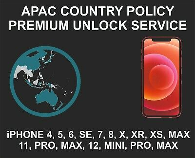 Apac Policy Premium Unlock Service, fits iPhone 5, 6, 7, 8 X XR, XS 11 Pro, Max