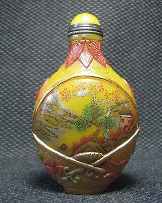 Tradition Chinese Glass Hand Painted Scenery Design Snuff Bottle