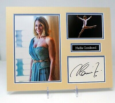 Nadia COMANECI Signed Mounted Photo Display AFTAL COA  Perfect 10 Gymnast.