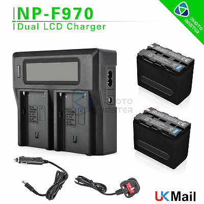 2x Battery + LCD Dual USB Charger For Sony NP-F970 F750 F570 F550 F950 F960 UK