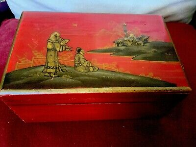 Antique Chinese Wooden Box Circa Late 19th C Two Women On Balcony Looking To Sea