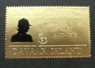 Davaar Island-1973-Half Pence Gold Foil stamp-Royal Wedding-MNH