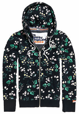 SUPERDRY DAMEN SWEAT Jacke Orange Label Aop Blumen Muster