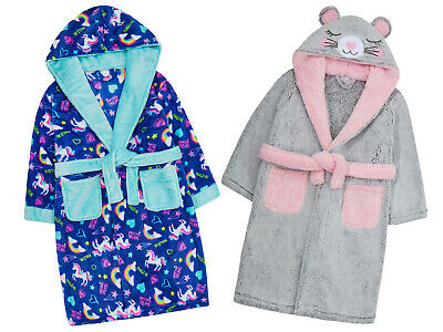 Girls Novelty Soft Fleece Cute Unicorn Mouse Robe Hooded Dressing Gown Gift Idea