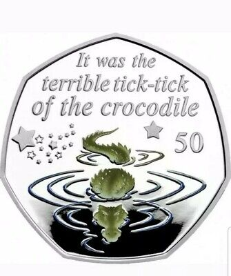 Peter Pan 50p Coin 2019 - Crocodile Brilliant Uncirculated + Colour decal