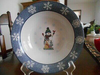 "Let it Snow Soup Salad Cereal Bowl (s) 8"" Gibson Stoneware White Blue Red !"