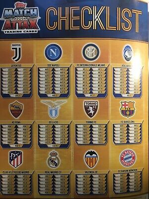 Match Attax Topps Champions/Europa League Juv-Bay Checklist Cards-Italia 2019/20