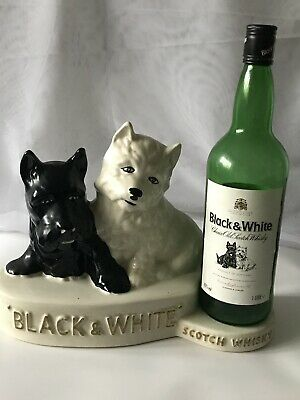 Vintage Black And White Scotch Whisky Ceramic Terriers Bottle Holder
