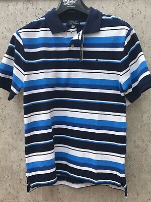 Ralph Lauren Boys Polo Shirt Navy Striped Brand New With Tags RRP £45- Age 6