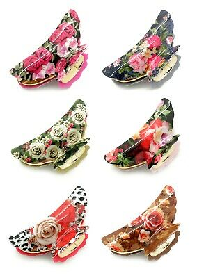 Floral Flower Vintage Hair Clip Tort Bull Claw Grip Clamp Butterfly Pattern