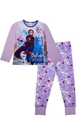 Offical Girls Disney Frozen II Pyjama Anna Elsa Olaf Premium PJs Sleepsuit Set