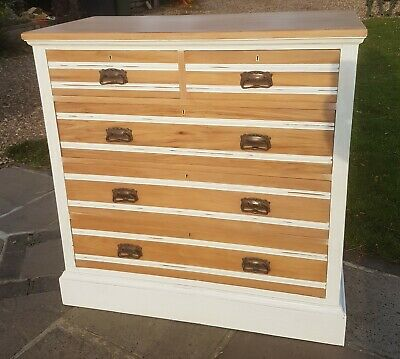 Victorian, large, wooden chest of drawers upcycled and painted