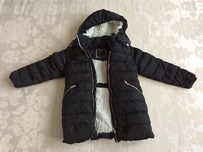 Next Girls Black Warm Coat 5 Years Good condition
