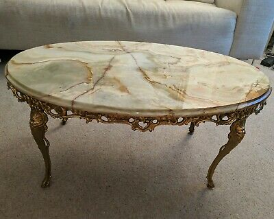 Antique Style French Parisian Brass Ormolu Marble Onyx Starburst Coffee Table
