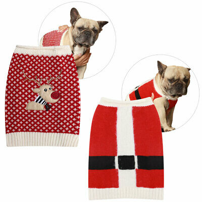 Merry Christmas Xmas Jumper For Small Medium Dogs Pug French Bulldog Santa